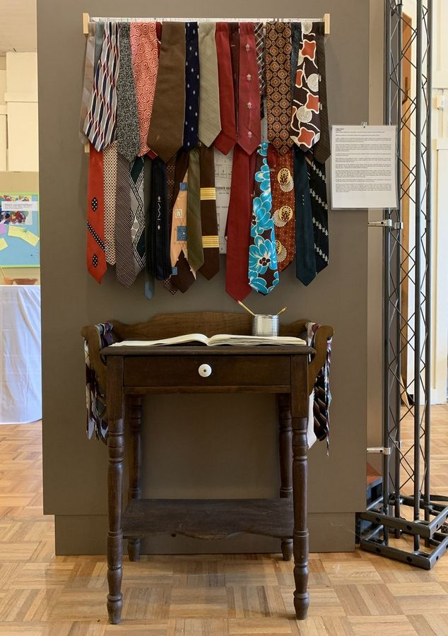 "In ""Un(Tie)tled,""  artist and West Chicago City Museum Educator Maggie Capettini expresses her interpretation of the strong dedication and ""ties"" to the community that many West Chicagoans feel."