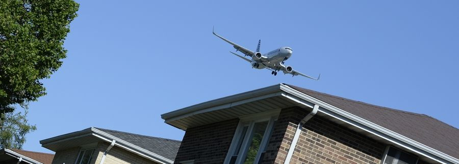 A jet passes over Bensenville as it prepare to land at O'Hare International Airport.
