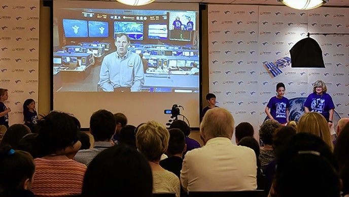 "Hal Getzelman appears live from NASA in Houston during Gail Borden Public Library's ""Live Chat with Astronaut Jeff Williams"" aboard the International Space Station in 2016. Getzelman will be speaking on the ""Future of Human Space Flight"" on Friday, July 19."