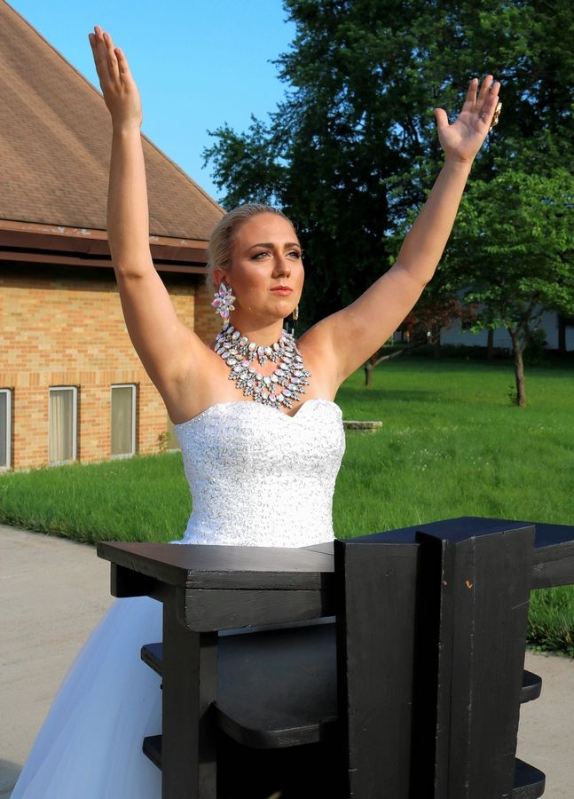 "Dominique Buonicore of Arlington Heights as Eva Peron in the ArtReach Educational Theatre production of ""Evita!"""