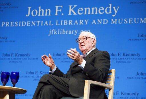 FILE - In this May 20, 2013 file photo, retired U.S. Supreme Court Justice John Paul Stevens talks about his views and career during a forum at the John F. Kennedy Library in Boston. Stevens, who served on the Supreme Court for nearly 35 years and became its leading liberal, has died on Tuesday, July 16, 2019, at age 99.