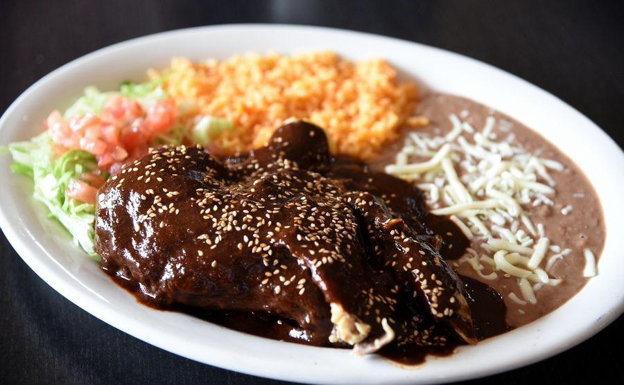 Antigua Mexican Grill's Grandma's Mole is a homemade mixture of dried chili peppers, spices and toasted seeds served over chicken.