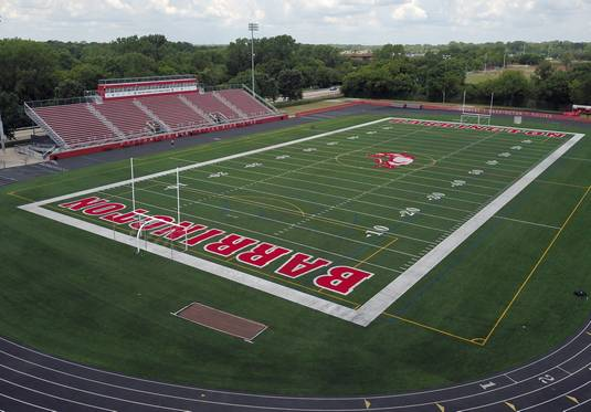 Barrington High School's stadium new artificial turf started getting some use from football players when it first became available to them for practice Monday. The Broncos' first home game will be Sept. 6 against Buffalo Grove High School.