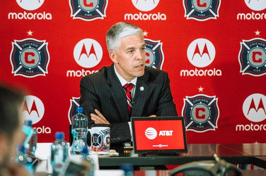 Chicago Fire general manager/team president Nelson Rodriguez answers questions from the media Wednesday.