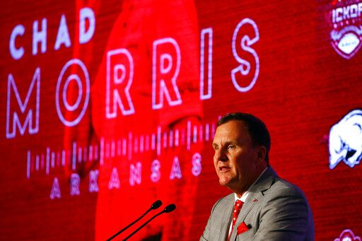Arkansas head coach Chad Morris speaks to reporters during the NCAA college football Southeastern Conference Media Days, Wednesday, July 17, 2019, in Hoover, Ala.