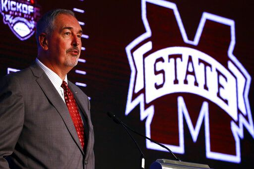 Mississippi State head coach Joe Moorhead speaks during the NCAA college football Southeastern Conference Media Days, Wednesday, July 17, 2019, in Hoover, Ala.