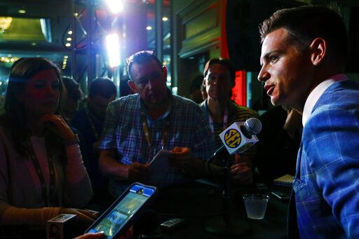 South Carolina quarterback Jake Bentley speaks to reporters during the NCAA college football Southeastern Conference Media Days, Wednesday, July 17, 2019, in Hoover, Ala.