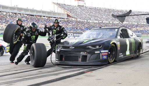 Kurt Busch makes a pit stop during the NASCAR Cup Series auto race at Kentucky Speedway in Sparta, Ky., Saturday, July 13, 2019.