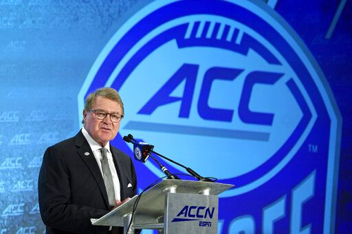 Commissioner John Swofford speaks during the Atlantic Coast Conference NCAA college football media day in Charlotte, N.C., Wednesday, July 17, 2019.