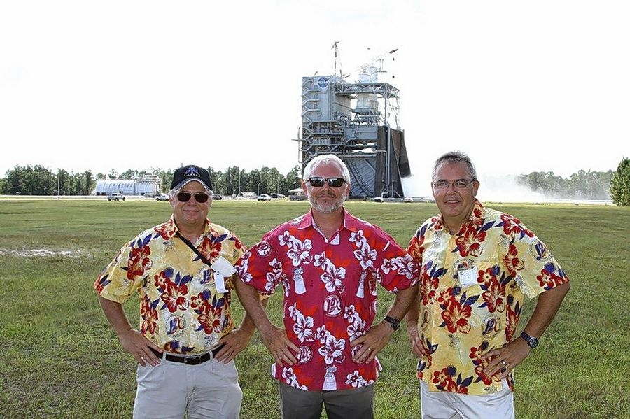 Brothers Bob, John and Mike Cain of Cain Tubular Products in St. Charles attend the test of NASA's J2X rocket motor at the Stennis Space Flight Center in Mississippi. The company built the heat exchanger coil for the motor.