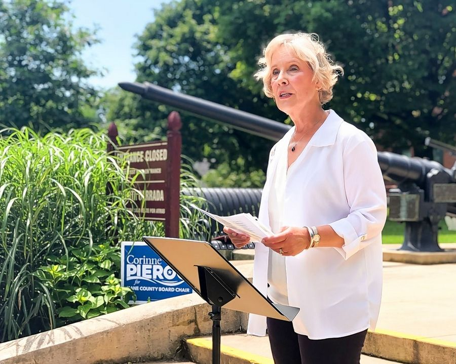 "Corinne Pierog said she wants to move Kane County away from ""leadership based on intimidation"" as part of her motivation to unseat incumbent Kane County Board Chairman Chris Lauzen."