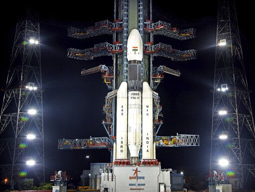 This July 2019, photo released by the Indian Space Research Organization (ISRO) shows its Geosynchronous Satellite Launch Vehicle (GSLV) MkIII-M1 at its launch pad in Sriharikota, an island off India's south-eastern coast. India's space agency says it will launch its spacecraft to the south pole of the moon on July 22 after an aborted effort originally scheduled for July 15. (Indian Space Research Organization via AP)