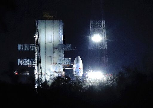 "Indian Space Research Organization (ISRO)'s Geosynchronous Satellite launch Vehicle (GSLV) MkIII carrying Chandrayaan-2 stands at Satish Dhawan Space Center after the mission was aborted at the last minute at Sriharikota, in southern India, Monday, July 15, 2019. India has called off the launch of a moon mission to explore the lunar south pole. The Chandrayaan-2 mission was aborted less than an hour before takeoff on Monday. An Indian Space Research Organization spokesman says a ""technical snag"" was observed in the 640-ton launch-vehicle system."