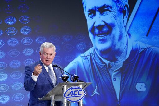 North Carolina head coach Mack Brown speaks during the Atlantic Coast Conference NCAA college football media days in Charlotte, N.C., Thursday, July 18, 2019.