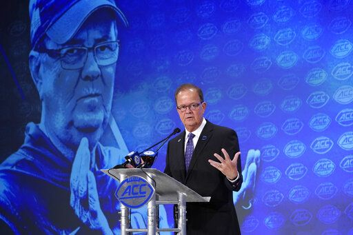 Duke head coach David Cutcliffe speaks during the Atlantic Coast Conference NCAA college football media days in Charlotte, N.C., Thursday, July 18, 2019.