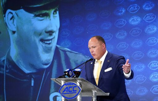 Georgia Tech head coach Geoff Collins speaks during the Atlantic Coast Conference NCAA college football media days in Charlotte, N.C., Thursday, July 18, 2019.