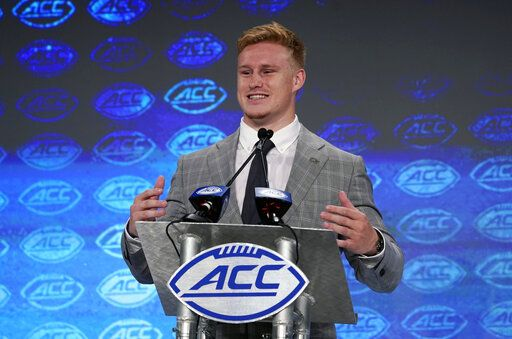 Georgia Tech's David Curry speaks during the Atlantic Coast Conference NCAA college football media days in Charlotte, N.C., Thursday, July 18, 2019.