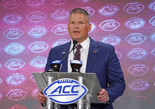 Virginia Tech head coach Justin Fuente speaks during the Atlantic Coast Conference NCAA college football media days in Charlotte, N.C., Thursday, July 18, 2019.
