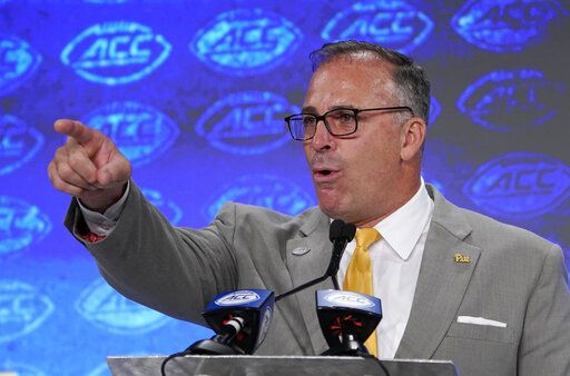 Pittsburgh head coach Pat Narduzzi speaks during the Atlantic Coast Conference NCAA college football media days in Charlotte, N.C., Thursday, July 18, 2019.