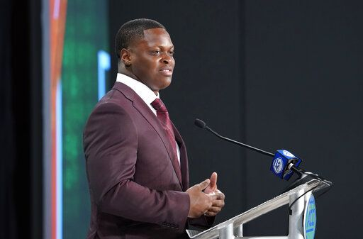 Miami's Shaquille Quarterman speaks during the Atlantic Coast Conference NCAA college football media days in Charlotte, N.C., Thursday, July 18, 2019.
