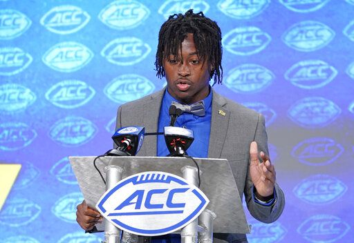 Pittsburgh's Maurice Ffrench speaks during the Atlantic Coast Conference NCAA college football media days in Charlotte, N.C., Thursday, July 18, 2019.