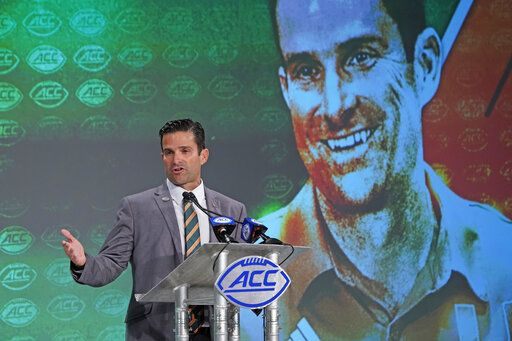 Miami head coach Manny Diaz speaks during the Atlantic Coast Conference NCAA college football media days in Charlotte, N.C., Thursday, July 18, 2019.