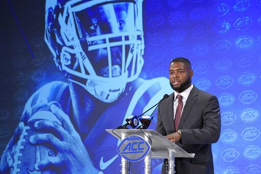 Duke's Quentin Harris speaks during the Atlantic Coast Conference NCAA college football media days in Charlotte, N.C., Thursday, July 18, 2019.