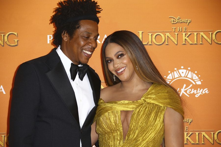 "Singers Jay-Z, left, and Beyoncé at ""The Lion King"" European premiere Sunday, July 14."