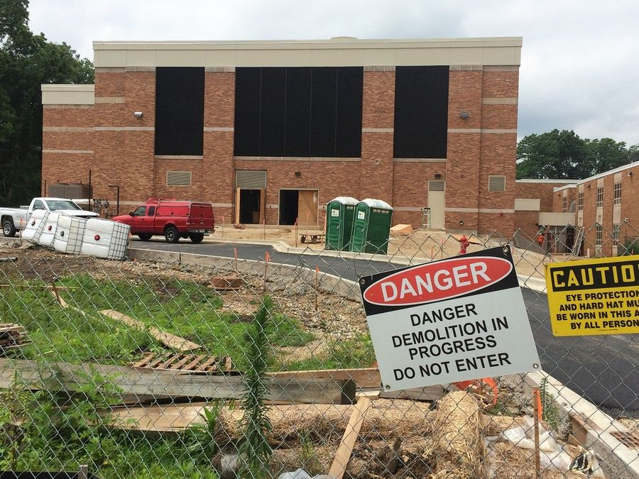 Construction of a new indoor swimming pool at Libertyville High School continued Friday. District 128 board members will tour the space on Monday.