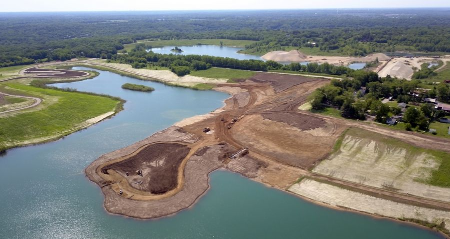 Restoration of the Meyer-Lafarge gravel pit is nearing completion. The 190-acre site northeast of Route 31 and Klasen Road will include walking trails, bicycle paths, park areas, a parking lot, a 70-acre lake and fishing areas.
