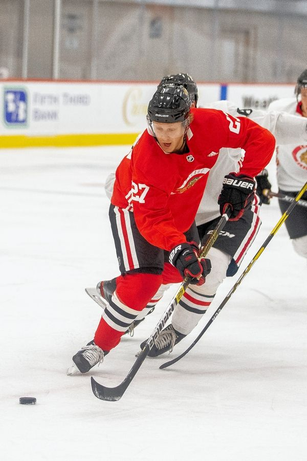 Courtesy of the Chicago BlackhawksChicago Blackhawks' Adam Boqvist put on quite a show during the Blackhawks' development camp scrimmage on Friday.