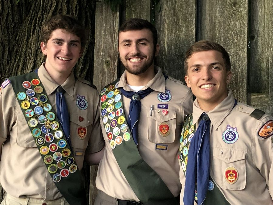 From left, Eagle Scouts Ryan Politzki, James Meyers and Will Snarski during an Arlington Heights Troop 468 Court of Honor in June.