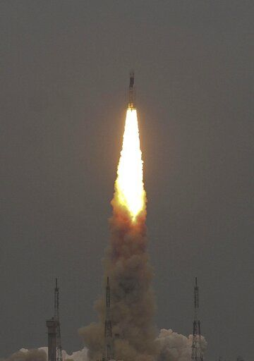 Indian Space Research Organization (ISRO)'s Geosynchronous Satellite launch Vehicle (GSLV) MkIII carrying Chandrayaan-2 lifts off from Satish Dhawan Space center in Sriharikota, India, Monday, July 22, 2019.  India successfully launched an unmanned spacecraft to the far side of the moon on Monday, a week after aborting the mission due to a technical problem.