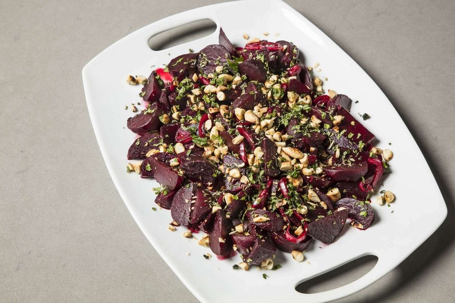 "Braised Beets with Lemon and Almonds, a recipe for which appears in the cookbook ""Vegetables Illustrated."""