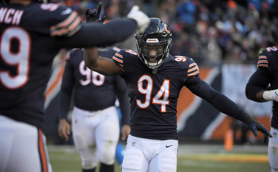 Chicago Bears outside linebacker Leonard Floyd reacts after he forced Detroit Lions quarterback Matthew Stafford to throw an incomplete pass Sunday at Soldier Field in Chicago.