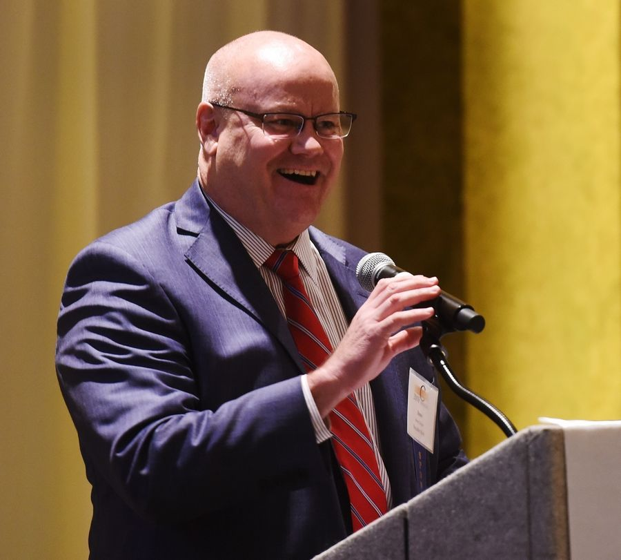 Joe Lewnard/jlewnard@dailyherald.comSteve Clingen of Republic Bank speaks during The C Suite 2019 Awards, held at the Medinah Shriners in Addison Wednesday.