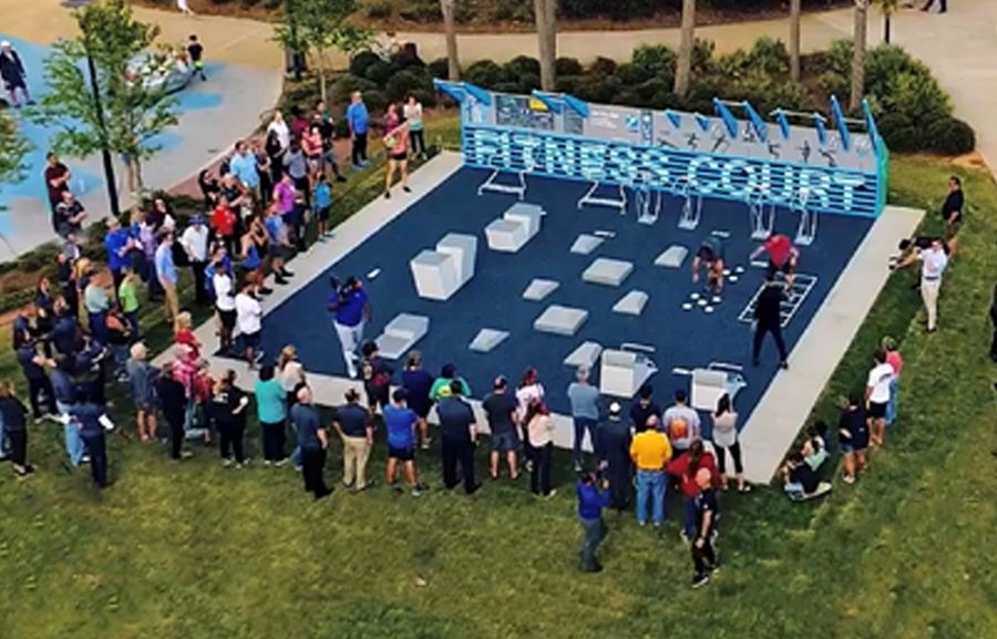 The new fitness court at Fabbrini Park incorporates functional fitness movements, agility and strength exercises with customizable difficulty levels and a free phone app.