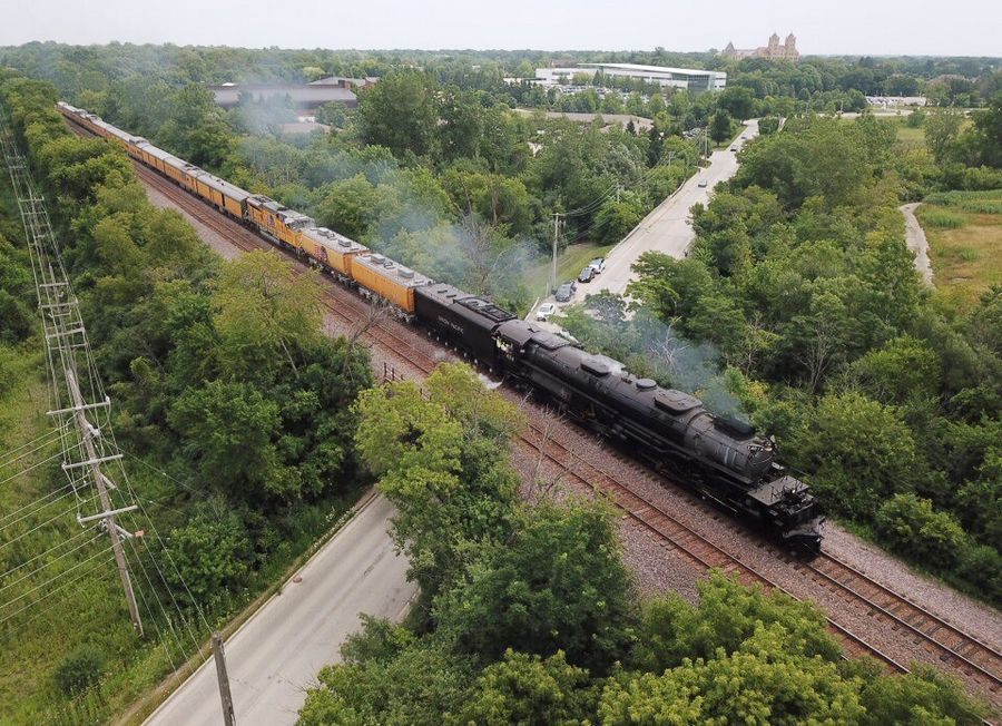 Union Pacific Big Boy No. 4014 crosses over Techny Road in Northbrook Friday morning on its way to West Chicago.