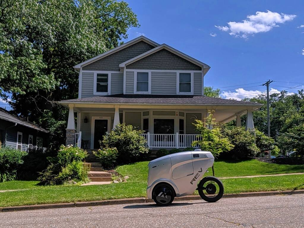 A new autonomous delivery vehicle is designed to operate like a bicycle
