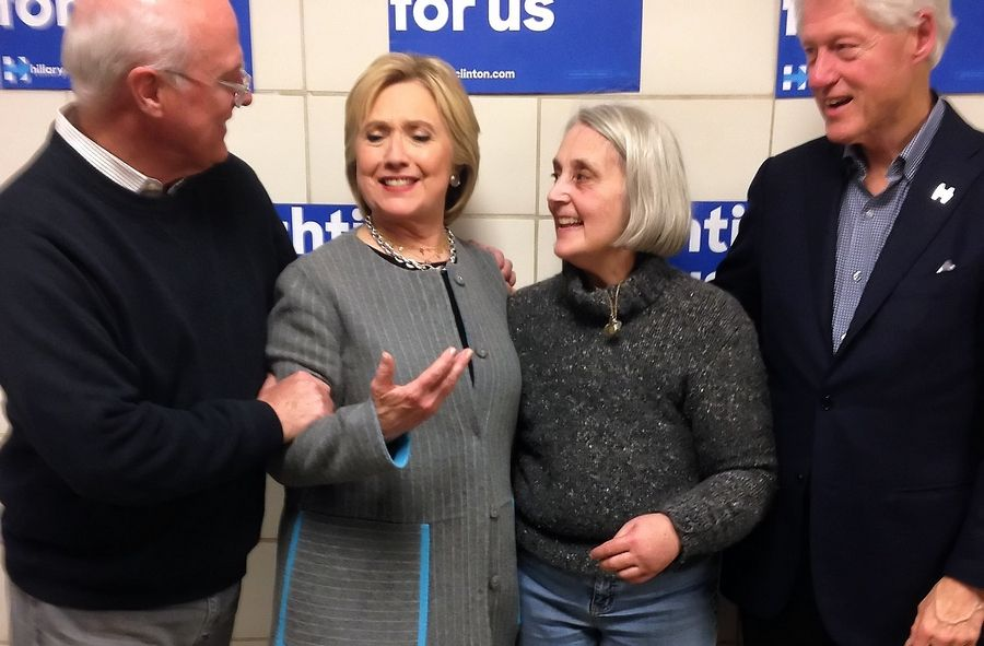 Hillary Clinton poses for pictures with Arlington Heights resident Betsy Ebeling, her best friend, and former President Bill Clinton.