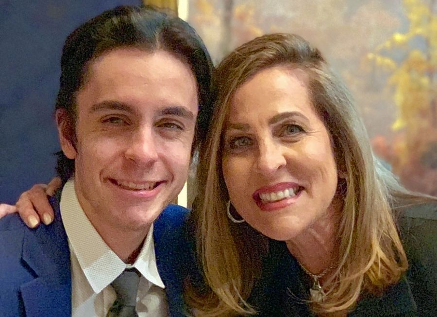 "Peggy Kusinski and her son, Jason, host ""The Sportscaster and Her Son"" podcast."