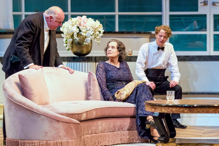 "Sir Lawrence Wargrave (Matt DeCaro), left, Emily Brent (Marilyn Dodds Frank) and Zachary Keller (Anthony Marston) are the guests of an unknown and deadly host in Drury Lane Theatre's revival of ""And Then There Were None"" by Agatha Christie."