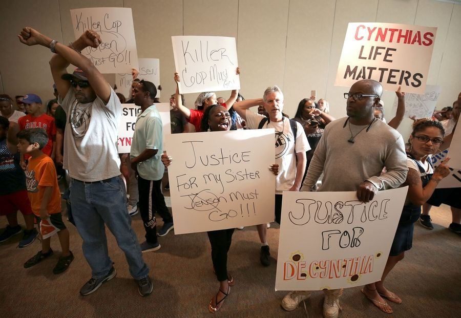 About 100 people marched into the Heritage Ballroom at the Centre of Elgin during a question-and-answer session Tuesday night about investigation the Decynthia Clements shooting investigation.