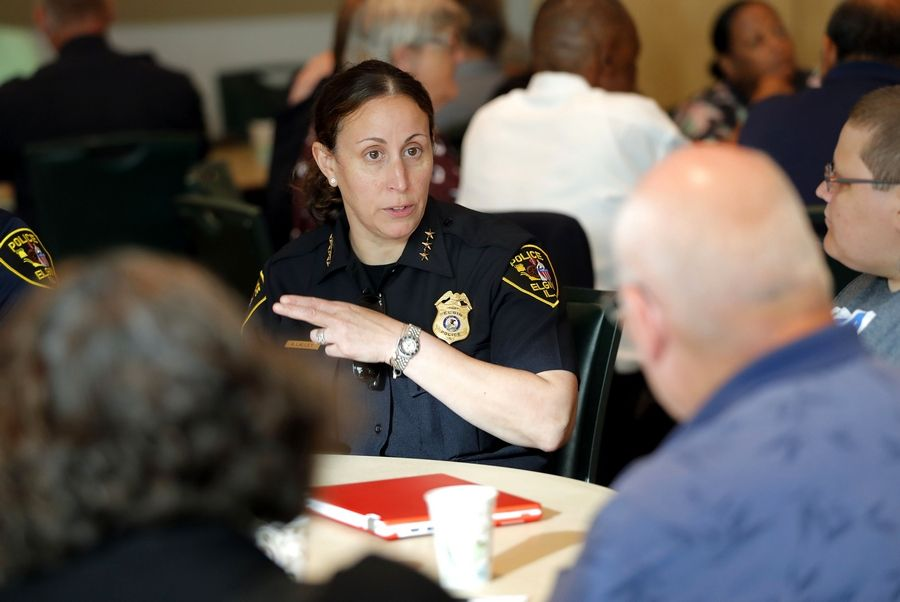 Elgin Police Chief Ana Lalley talks with residents on Tuesday about the investigation into the fatal police shooting of Decynthia Clements.