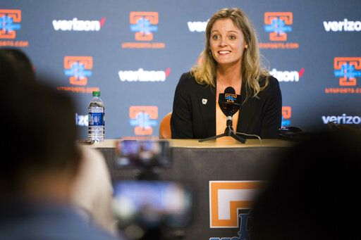 FILE - In this April 10, 2019, file photo, Kellie Harper speaks during a press conference announcing her as the new head coach of the Lady Vols, on the University of Tennessee campus in Knoxville, Tenn. With a new coach and a new-look roster, Tennessee is hoping an upcoming European exhibition tour will enable the Lady Volunteers to get to know one another on the court as they attempt to rejuvenate a program coming off a first-round NCAA Tournament exit. (Caitie McMekin/Knoxville News Sentinel via AP, File)