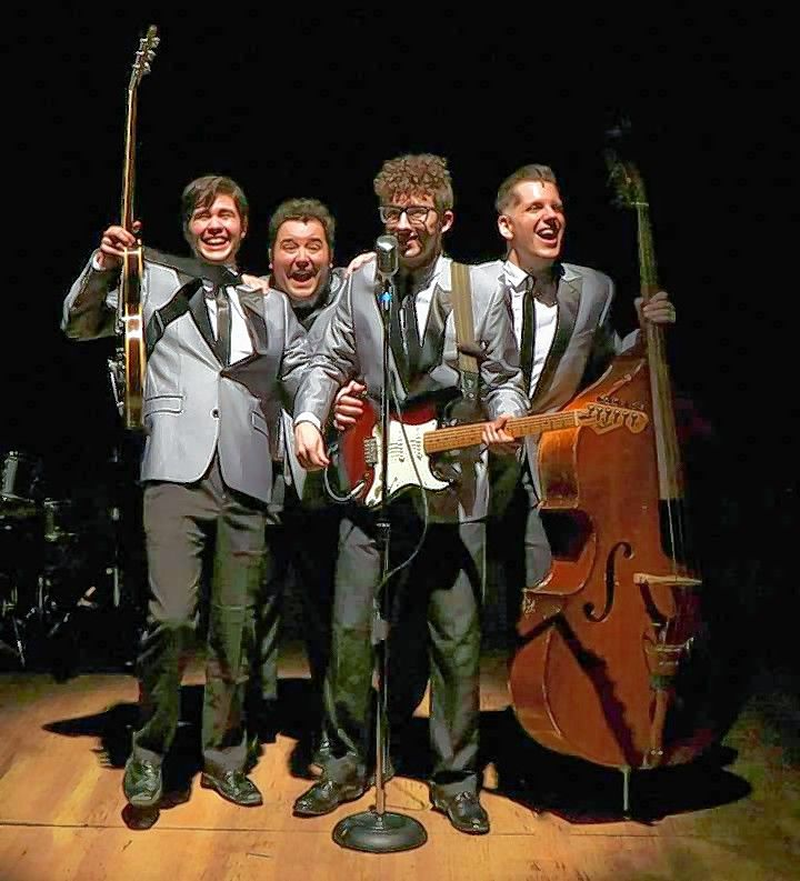 "Travis Shanahan, second from right, plays Buddy Holly and Kelan M. Smith, Jack Morsovillo and Roy Brown play The Crickets in Metropolis Performing Arts Centre's ""Buddy: The Buddy Holly Story."""
