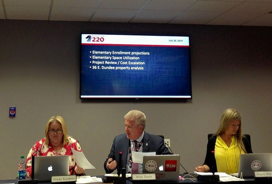 Barrington Area Unit District 220 Superintendent Brian Harris discusses projects that could be part of a referendum question expected to appear on the March ballot. He's flanked by school board President Penny Kazmier, left, and board member Angela Wilcox at a meeting this week.