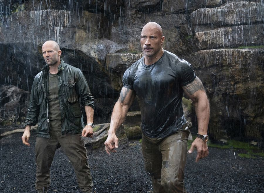 "Dwayne Johnson, right, and Jason Statham are mismatched partners in the action spinoff ""Fast & Furious Presents: Hobbs & Shaw."""