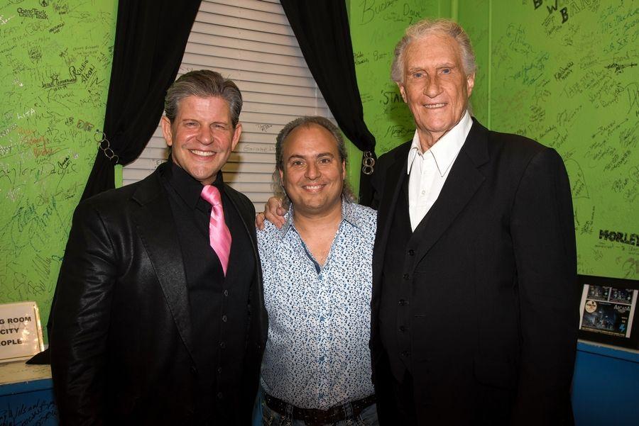 Ron Onesti, center, recently hosted Bucky Heard, left, and Bill Medley at the Arcada Theatre in St. Charles.