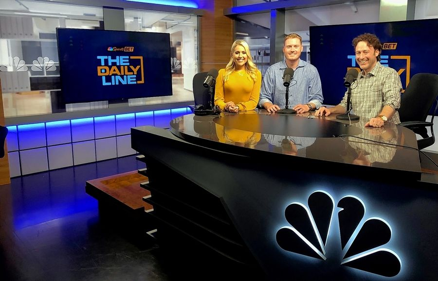 """The Daily Line"" hosts Sara Perlman, Tim Murray and Michael Jenkins"
